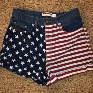 american apparel american flag jean shorts